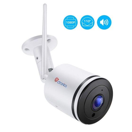 Ctronics200万画素IP防犯カメラ ネットワーク室外監視カメラ IP66防水 110°広い角度 双方向音声通信機能 暗視撮影 動体検知 自動録画 メール通知SDカード対応(128Gまで)日本語説明書つき