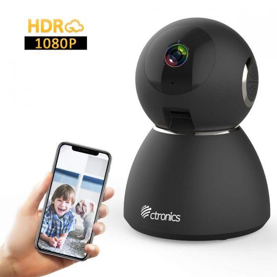 Ctronics ペットカメラ WiFi 25fps ベビーモニター 1080P ホームセキュリティ HDR 355°広い視野 強化暗視撮影 動体検知 双方向音声 警報通知 高齢者 見守り ペット 留守番 ホームモニタ 二年間品質保証 日本語説明書 ブラック
