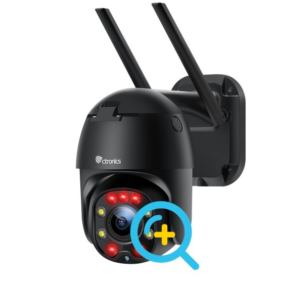 Ctronics 防犯 カメラ ワイヤレス 屋外 wifi 四倍光学ズーム 夜間カラー撮影 追跡機能 PTZ 監視 カメラ 人体検知 モーション検知 アプリ遠隔操作 監視 常時録画 双方向音声通話 HD1080P 高画質 ナイトカラー iOS/Android/Windows対応 MircoSDカード対応 日本語 取扱説明書 アプリ 二年間品質保証
